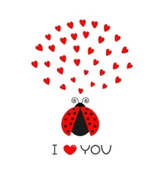 Red flying lady bug insect with hearts Cute vector image