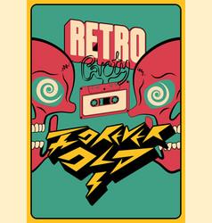 Retro party typographic poster design vector