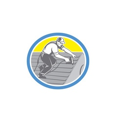 Roofer Roofing Worker Circle Retro vector image