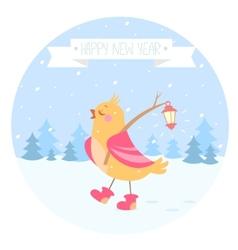 bird new year vector image