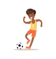 Boy Playing Football Traditional Male Kid Role vector image