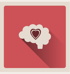 brain thinking in love on red background with vector image vector image