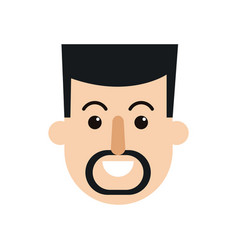 Character man face smiling with mustache and beard vector