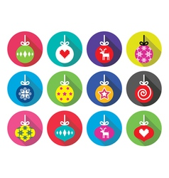 Christmas ball Christmas bauble flat design icons vector image