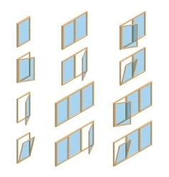 collection of various windows types For vector image vector image