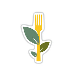 paper sticker on white background leaves fork vector image vector image