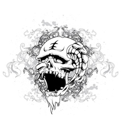 skull with floral and grunge vector image vector image