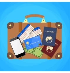 Travel suitcase passport and plane tickets vector image vector image