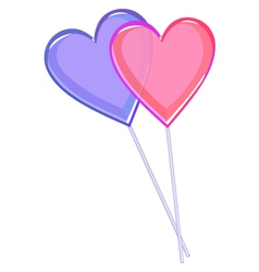 Two love lollipops hearts isolated on white vector image vector image
