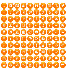 100 holidays family icons set orange vector