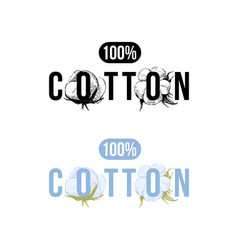 100 percents cotton logo vector image