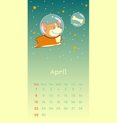 2018 april calendar with welsh corgi dog vector