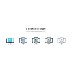 3 dimension screen icon in different style two vector