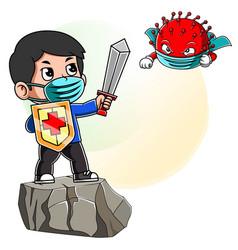 A boy on rock fight corona virus sword and vector