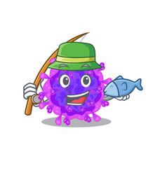 A picture funny fishing alpha coronavirus design vector
