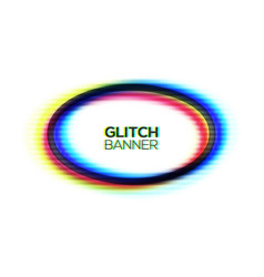 abstract glitch texture oval frame modern ellipse vector image