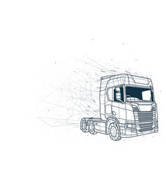 Abstract truck low poly wireframe vector