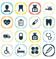 Antibiotic icons set collection drug healer vector