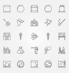 Aquarium icons set vector