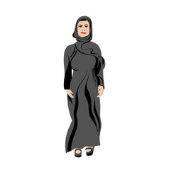arabian muslim women in abaya - traditional closes vector image