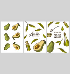 avocado cards green templates banner of organic vector image