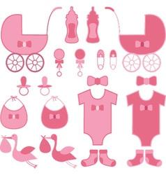 Baby shower girl elements announcement vector