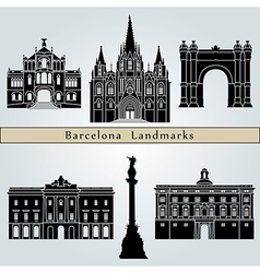 Barcelona landmarks and monuments vector image