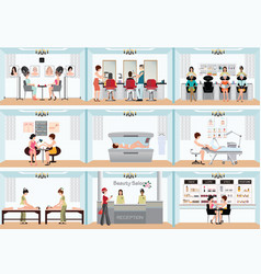 beauty salon info graphic of people in spa and vector image
