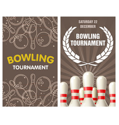 Bowling party flyer with skittles and balls vector