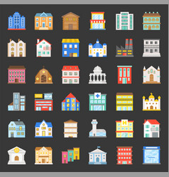 building construction flat icon set 13 vector image