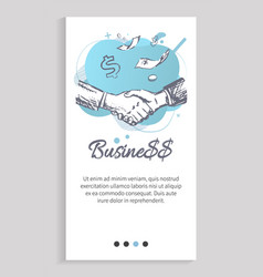 Business partners shaking hands successful deal vector