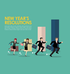 Businessman and woman with new year resolutions vector