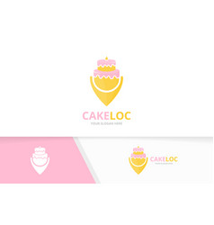 Cake and map pointer logo combination pie vector