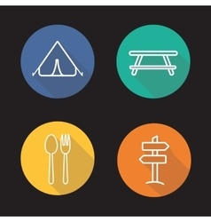 Camping flat linear long shadow icons set vector image