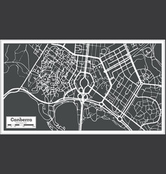 Canberra australia city map in retro style vector