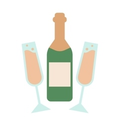 Champagne bottle alcohol drink object and vector
