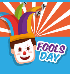 Clown mask happy jester hat fools day vector