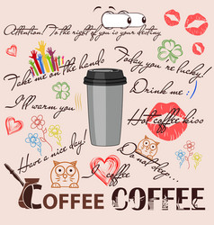 Coffee phrases vector