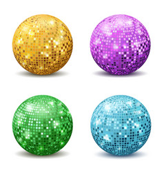 color disco balls realistic reflection ball vector image