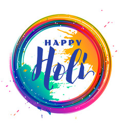 Color splash frame holi festival background vector