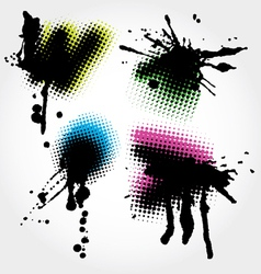 Colorfull grunge splashes vector