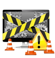 Computer Repair with Cones vector image