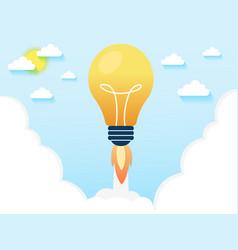 Concept light bulb rocket launch for idea boost vector