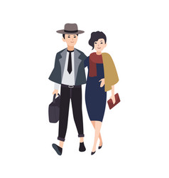 Couple of young elegant man and woman dressed in vector