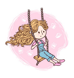 Cute girl playing swing vector