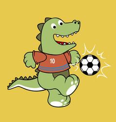 Dino playing soccer cartoon vector