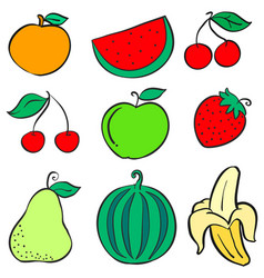 Doodle of various fruit colorful collection vector