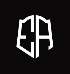 Ea logo monogram with shield shape ribbon design vector