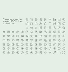 economic and social outline iconset vector image