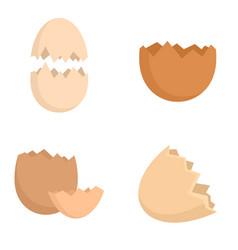 Eggshell icons set flat style vector